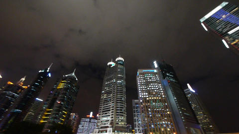 urban building,shanghai pudong business center at night Animation