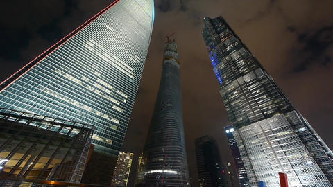 shanghai lujiazui business center building,modern urban skyscraper at night Animation