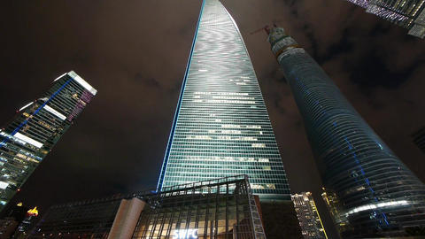 time lapse,clouds passing urban skyscraper at night,shanghai finance center Animation