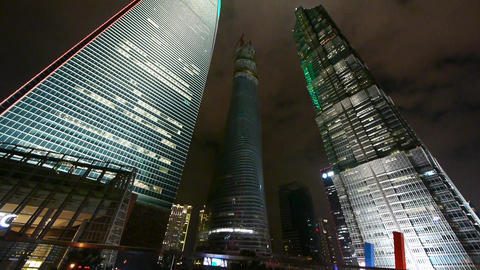 panoramic of urban skyscraper at night,shanghai finance center Animation