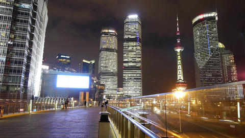 time lapse,busy pedestrian & traffic,shanghai center... Stock Video Footage