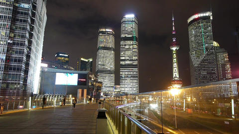 time lapse,busy pedestrian & traffic,shanghai center & orient pearl TV t Animation