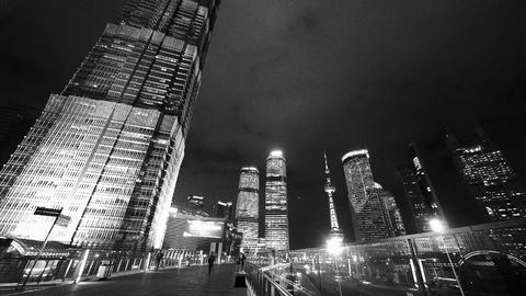 time lapse,busy pedestrian,shanghai finance center & orient pearl TV tower Animation