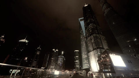 time lapse,busy pedestrian passing urban finance... Stock Video Footage