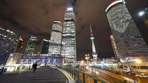 time lapse urban traffic at night,shanghai skyscraper... Stock Video Footage