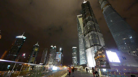 urban traffic & peole at night,Brightly lit shanghai... Stock Video Footage