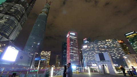 panoramic of urban skyscraper,shanghai pudong business... Stock Video Footage
