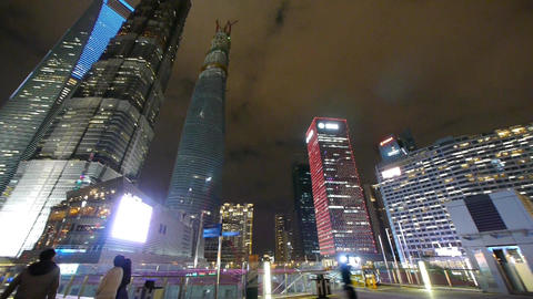 panoramic of urban skyscraper,shanghai pudong business center at night Animation