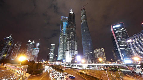 time lapse,urban jam traffic at night,Brightly lit modern... Stock Video Footage