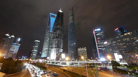 night illuminated cityscape jam traffic,shanghai pudong... Stock Video Footage