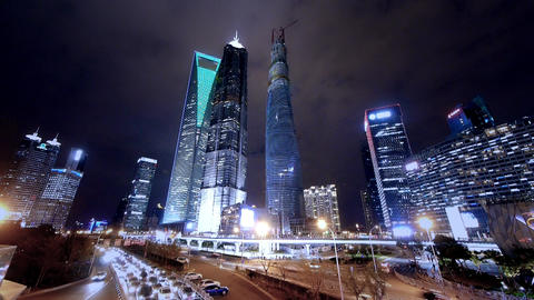 time lapse night illuminated cityscape traffic,shanghai... Stock Video Footage
