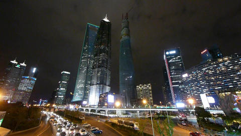 time lapse night illuminated cityscape traffic,urban... Stock Video Footage