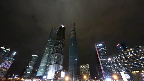 panoramic view of urban traffic & skyscraper,night... Stock Video Footage