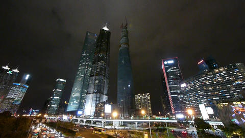 panoramic view of urban traffic & skyscraper,night... Stock Video Footage