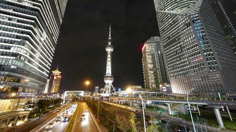 time lapse,city traffic & urban economic skyscraper... Stock Video Footage