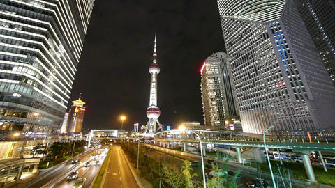 panoramic of city traffic & urban economic skyscraper at night,shanghai Chin Animation