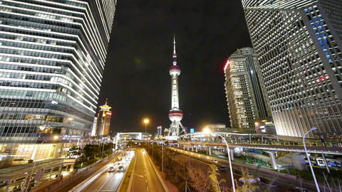 panoramic of city traffic & urban economic skyscraper... Stock Video Footage