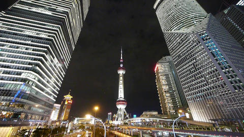 brightly lit urban business skyscraper at night,shanghai... Stock Video Footage