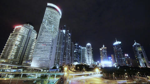 timelapse,Big City traffic & skyscraper at night,fast... Stock Video Footage