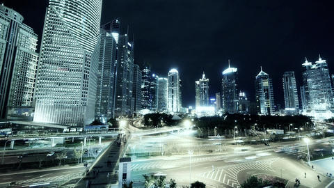 timelapse,Big City traffic & skyscraper at night,fast walking people silhoue Animation
