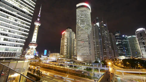 time lapse,big city night traffic & skyscraper,moving... Stock Video Footage