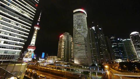 big city night traffic & skyscraper skyline,moving... Stock Video Footage
