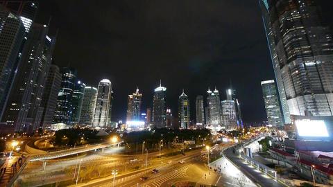time lapse,urban jam traffic at night,Brightly lit big... Stock Video Footage