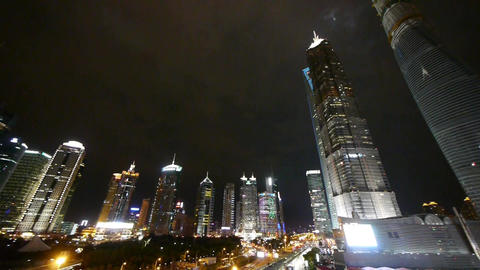 panoramic of shanghai pudong business center at... Stock Video Footage