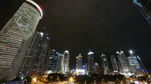 panoramic of shanghai pudong business center at night,Brightly lit skyscraper Animation