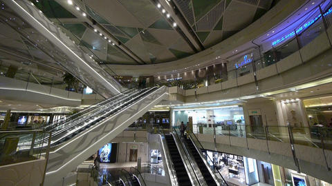 Shopping mall Escalator,shanghai china,ultra wide angle lens Stock Video Footage