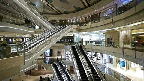 time lapse,Shopping mall Escalator,shanghai china,ultra... Stock Video Footage