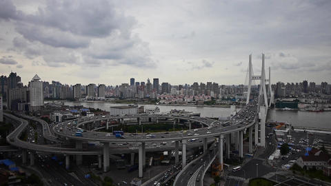 Aerial view of shanghai nanpu overpass traffic Stock Video Footage