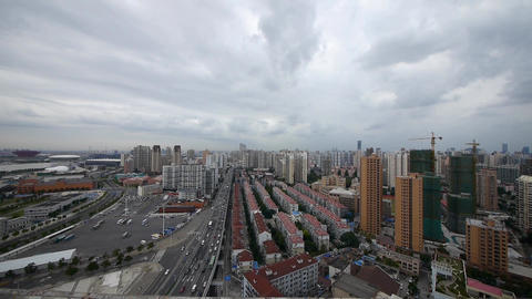 shanghai traffic & building background,cloudy,china Stock Video Footage