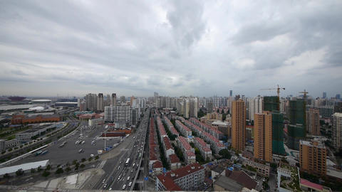 shanghai traffic & building background,cloudy,china Animation