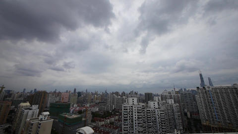 Time Lapse Cloudy Above Shanghai Building Backgrou stock footage