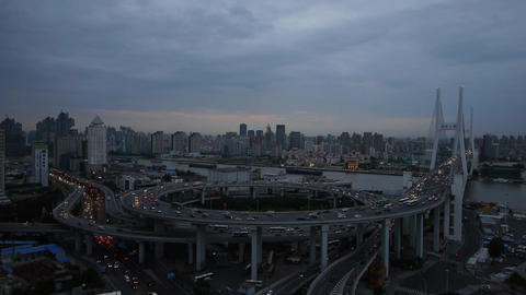 Aerial view of shanghai nanpu overpass traffic... Stock Video Footage