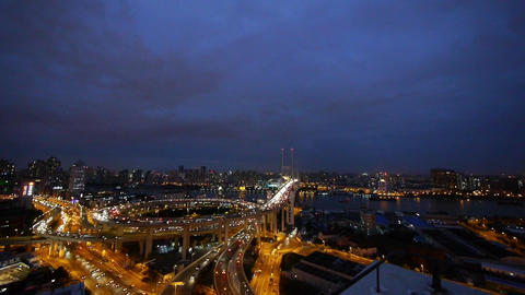 panoramic of urban busy freeway interstate traffic at... Stock Video Footage