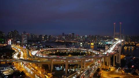 Aerial night heavy traffic on highway... Stock Video Footage