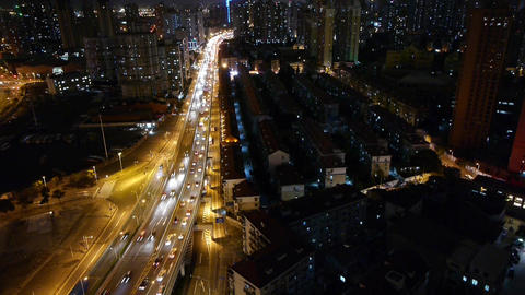 time lapse busy urban traffic with streaking lights trail at night,shanghai Animation
