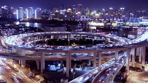 Bird's eye view of shanghai traffic at night,urban... Stock Video Footage