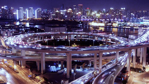 Bird's eye view of shanghai traffic at night,urban... Stock Video Footage