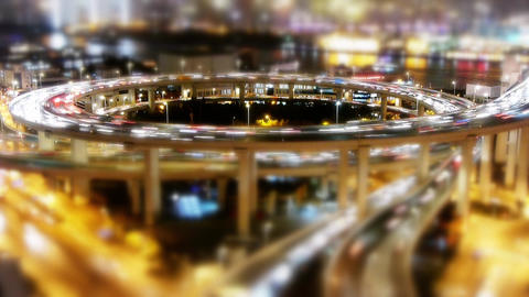 the light trails of urban traffic on overpass,shipping on river,blur shot Animation