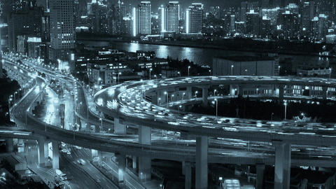 time lapse,busy urban traffic on overpass bridge at... Stock Video Footage