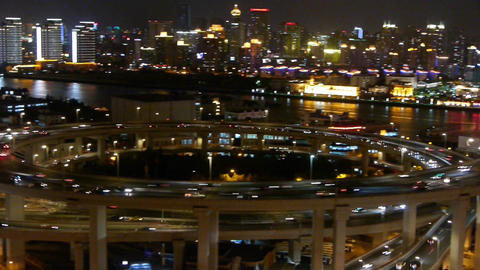panoramic of busy urban traffic on overpass bridge at... Stock Video Footage