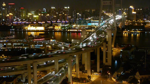 timelapse busy urban traffic on shanghai overpass bridge... Stock Video Footage