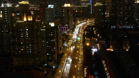 time lapse busy urban traffic jam at night,urban morden... Stock Video Footage
