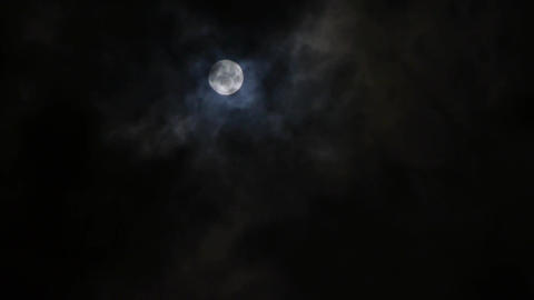 time lapse,Full moon at cloudy sky,night flight over clouds Animation
