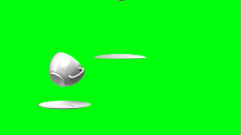Full HD 3d animation falling cup and saucer (green Stock Video Footage