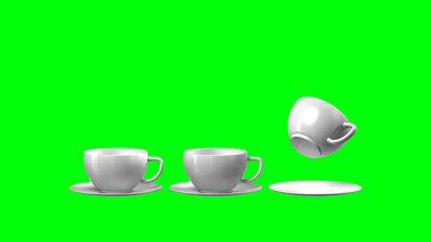 Full HD 3d animation falling cup and saucer (green Animation