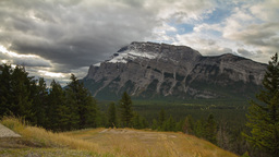 Mountain Rundle on a cloudy morning Stock Video Footage